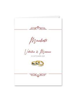 menükarte hochzeit klappkarte elegant ornament rot ringe gold eheringe königlich kaiser hochzeitsgrafik onlineshop papeterie