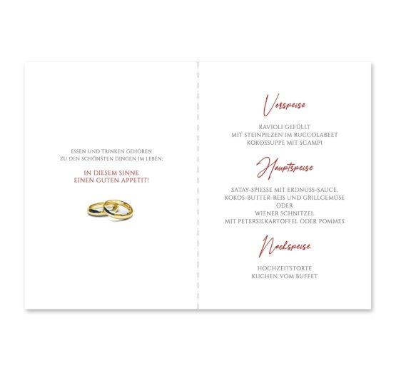 menükarte klappkarte hochzeit elegant ornament rot ringe gold eheringe königlich kaiser hochzeitsgrafik onlineshop papeterie