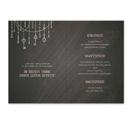 menükarte klappkarte hochzeit vintage schlüssel chalkboard schwarz weiß skelett lichterketten luster hochzeitsgrafik onlineshop papeterie