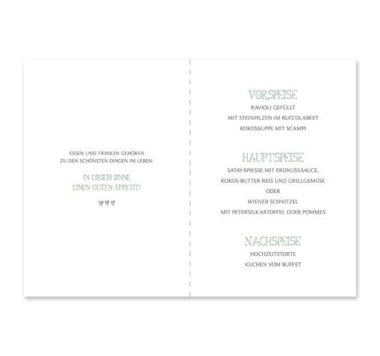 menükarte klappkarte hochzeit vintage blumenkranz grün greenery watercolor hochzeitsgrafik onlineshop papeterie