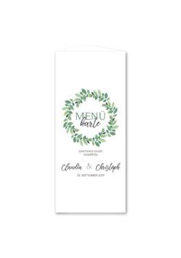 menükarte dreieck hochzeit vintage blumenkranz grün greenery watercolor hochzeitsgrafik onlineshop papeterie