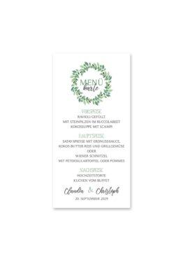 menükarte hochzeit vintage blumenkranz grün greenery watercolor hochzeitsgrafik onlineshop papeterie