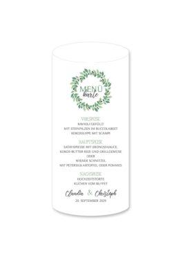 menükarte windlicht hochzeit vintage blumenkranz grün greenery watercolor hochzeitsgrafik onlineshop papeterie