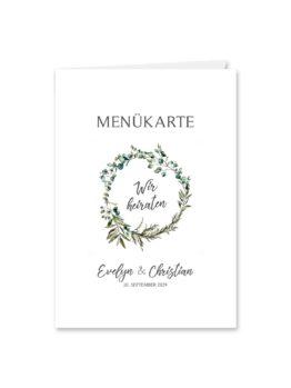 menükarte klappkarte hochzeit vintage blumen kranz greenery grün eucalyptus hochzeitsgrafik onlineshop papeterie