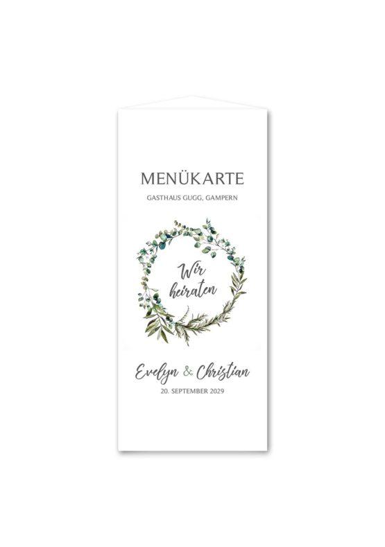 menükarte dreieck hochzeit vintage blumen kranz greenery grün eucalyptus hochzeitsgrafik onlineshop papeterie