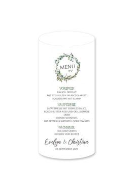 menükarte windlicht hochzeit vintage blumen kranz greenery grün eucalyptus hochzeitsgrafik onlineshop papeterie
