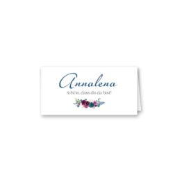 tischkarte klappkarte hochzeit vintage aquarell blumen blau rot feder hochzeitsgrafik onlineshop papeterie