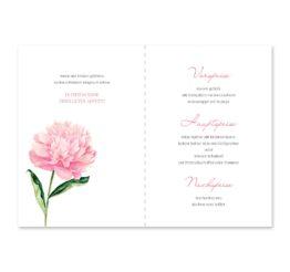 menükarte klappkarte hochzeit vintage blumen pfingstrosen rosa aquarell acyrl malerei hochzeitsgrafik onlineshop papeterie
