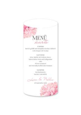 menükarte windlicht hochzeit vintage blumen pfingstrosen rosa aquarell acyrl malerei hochzeitsgrafik onlineshop papeterie