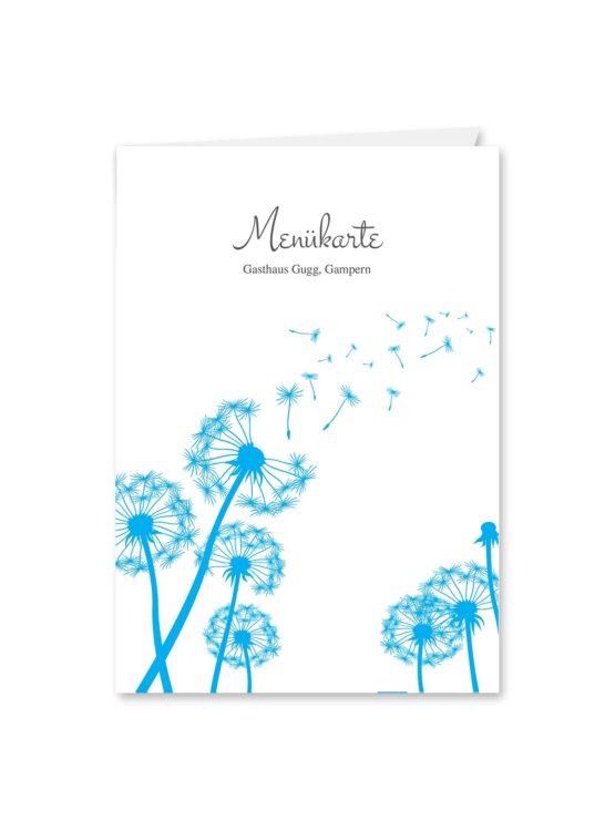 menükarte klappkarte hochzeit pusteblume blume cyan blitzblau hochzeitsgrafik onlineshop papeterie