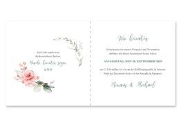einladung hochzeit vintage blumenkranz rosa grau grün eucalyptus aquarell acryl hochzeitsgrafik onlineshop papeterie