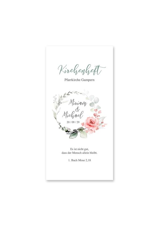 kirchenheft hochzeit vintage blumenkranz rosa grau grün eucalyptus aquarell acryl hochzeitsgrafik onlineshop papeterie