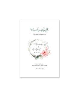 kirchenheft fächer hochzeit vintage blumenkranz rosa grau grün eucalyptus aquarell acryl hochzeitsgrafik onlineshop papeterie