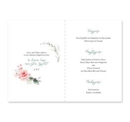 menükarte klappkarte hochzeit vintage blumenkranz rosa grau grün eucalyptus aquarell acryl hochzeitsgrafik onlineshop papeterie