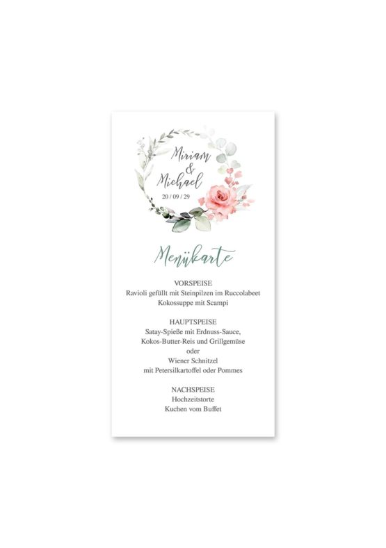 menükarte hochzeit vintage blumenkranz rosa grau grün eucalyptus aquarell acryl hochzeitsgrafik onlineshop papeterie