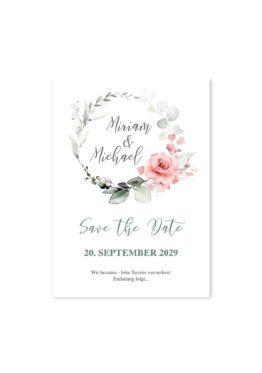 save the date hochzeit vintage blumenkranz rosa grau grün eucalyptus aquarell acryl hochzeitsgrafik onlineshop papeterie