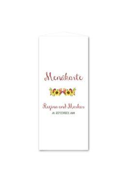 menükarte dreieck hochzeit vintage watercolor sonnenblume rot gelb aquarell acryl hochzeitsgrafik onlineshop papeterie