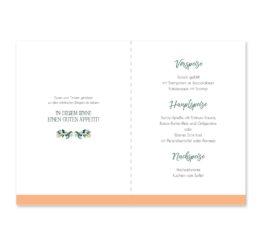 menükarte klappkarte hochzeit vintage watercolor aquarell acryl blumenkranz eucalyptus lachs monogramm logo hochzeitsgrafik onlineshop papeterie