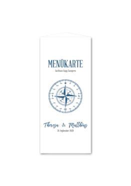 menükarte dreieck hochzeit vintage kompass reise reisen welt ziel nord süd ost west blau hochzeitsgrafik onlineshop papeterie