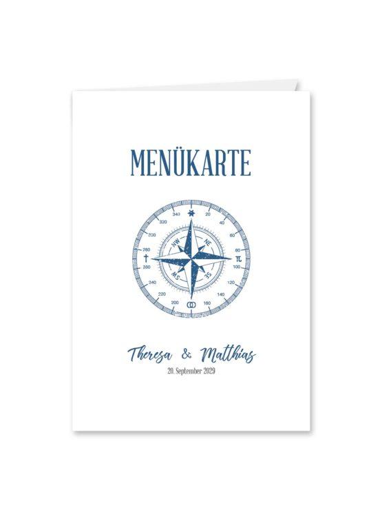 menükarte klappkarte hochzeit vintage kompass reise reisen welt ziel nord süd ost west blau hochzeitsgrafik onlineshop papeterie