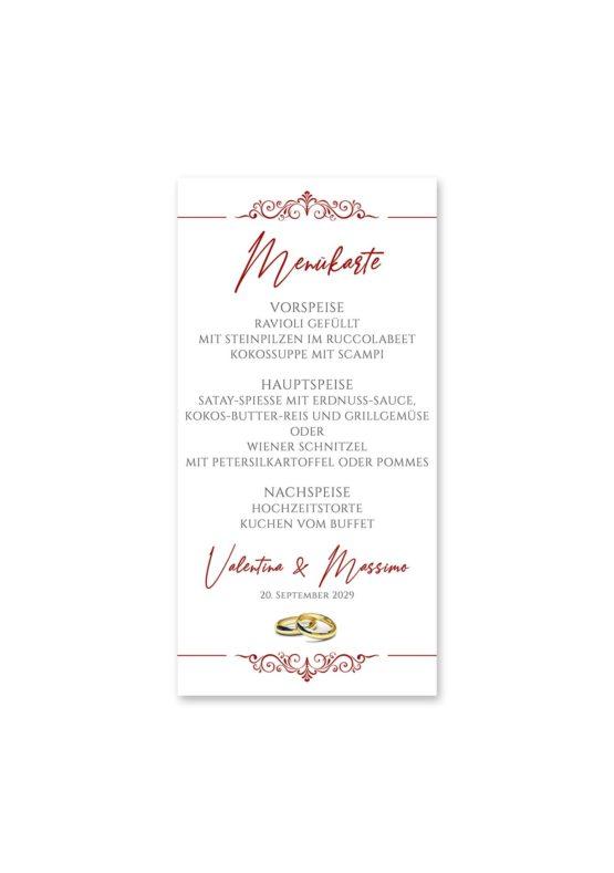 menükarte hochzeit elegant ornament rot ringe gold eheringe königlich kaiser hochzeitsgrafik onlineshop papeterie